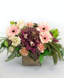 Burgundy Cymbidium Orchids, antique hydrangea, pastel daisies