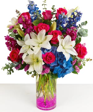 Red Roses, White Lilies, Blue Hydrangea