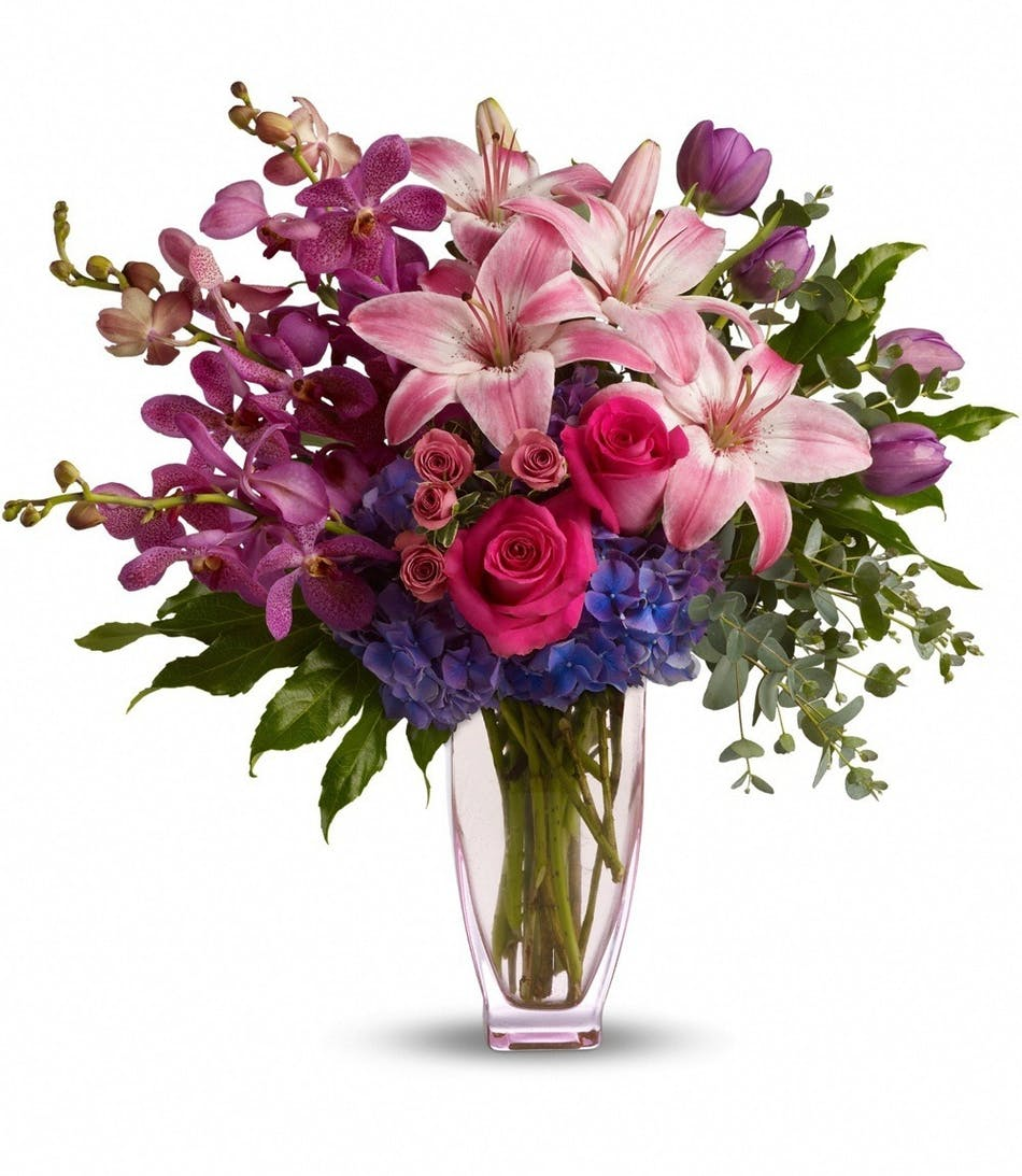Mothers Day Purple Orchids Mothers Day Pink Lilies Mothers Day