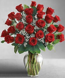 24 Red Roses Arranged With Babies Breath