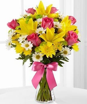 Pink Roses and Yellow Lilies  Floral Arrangements, Florist San Diego