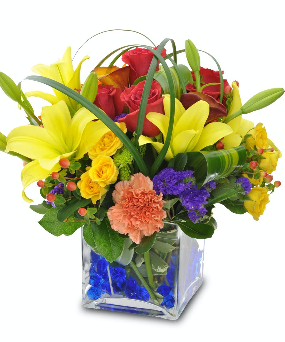 Yellow Lilies Yellow Roses Red Roses Floral Greenery