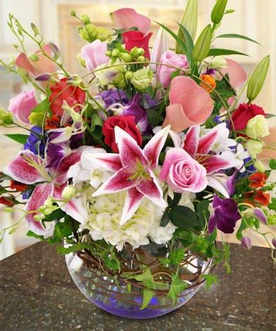 Stargazer Lilies and Hydrangea Floral Arrangements, Florist La Jolla