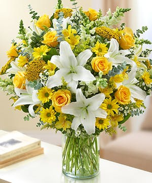 Yellow Roses and White lilies Floral Arrangements, Florist San Diego