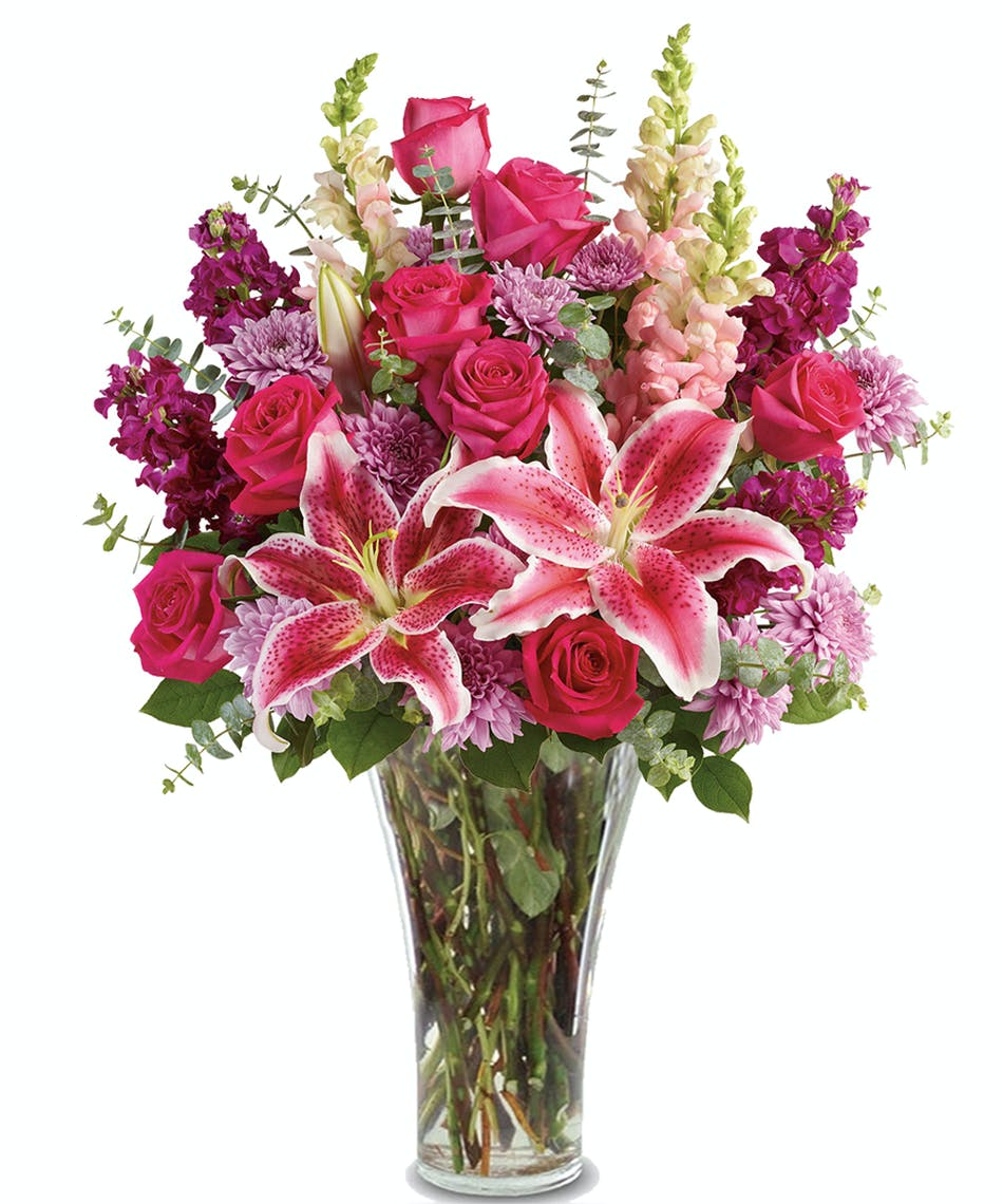 Bold and beautiful stargazer lilies red roses purple stock stargazer lilies red roses purple stock mightylinksfo