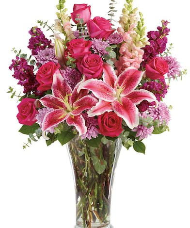 Stargazer Lilies, Red Roses, Purple Stock