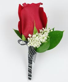 Red Rose/Babies Breath Boutonniere