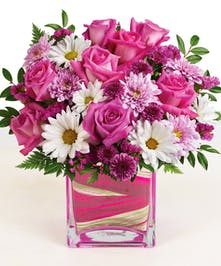 Pink Roses, Pink Mums, White Daisies