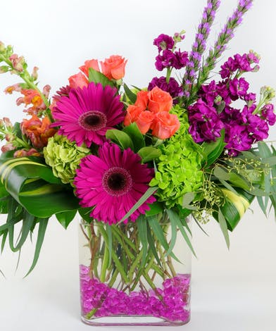 Pink Gerberas, Mini Orange Roses, Green hydrangea