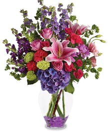 Stargazers and Purple Hydrangea Floral Arrangements, Florist San Diego