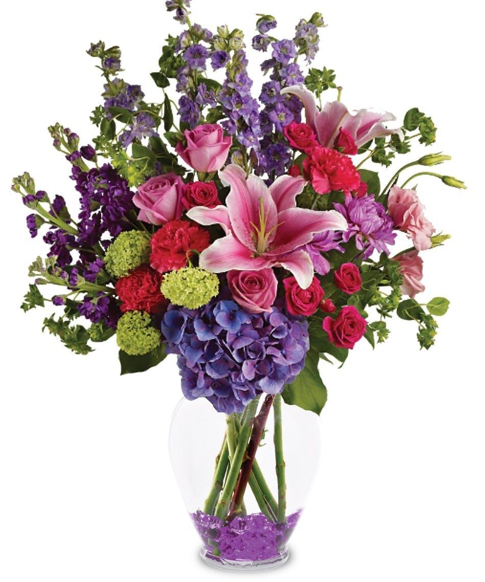 Stargazers and spring flowers garden celebration allens flowers stargazers and purple hydrangea floral arrangements florist san diego izmirmasajfo