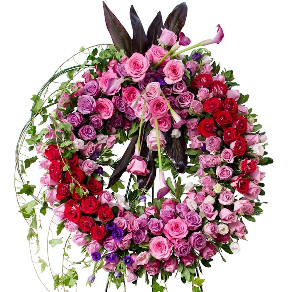 Garden Elegance Wreath Pink Hydrangea Purple Orchids Pink Roses