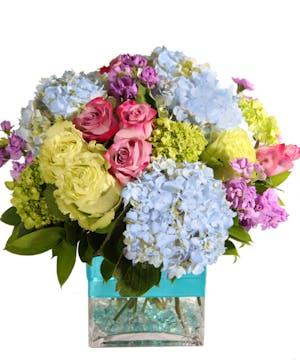 Spring Flowers, Blue Hydrangea, Jade Roses