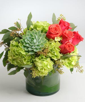 Orange Roses, Green Hydrangea, California Succulents