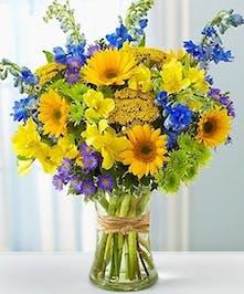 Blue Delphinium and Sunflowers Floral Arrangements, Florist San Diego