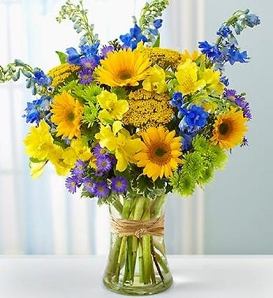 Blue Delphinium and Sunflowers Floral Arrangements, Florist San Diego