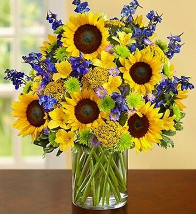 Sunflowers and Delphinium Floral Arrangements, Florist del Mar