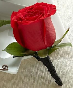 Boutonniere Red Rose