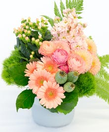 Peach Colored Roses, Dahlias, Daisies