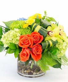 Fabulous Cayenne Colored Roses, Hydrangea, Orchids