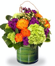 Orange Roses, Mixed With Green Full Bloom Hydrangea