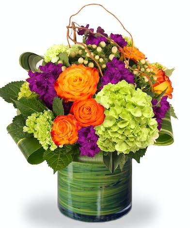 Orange Roses, Mixed With Green Full Bloom Hydrangea