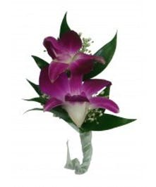 Boutonniere Purple Orchid