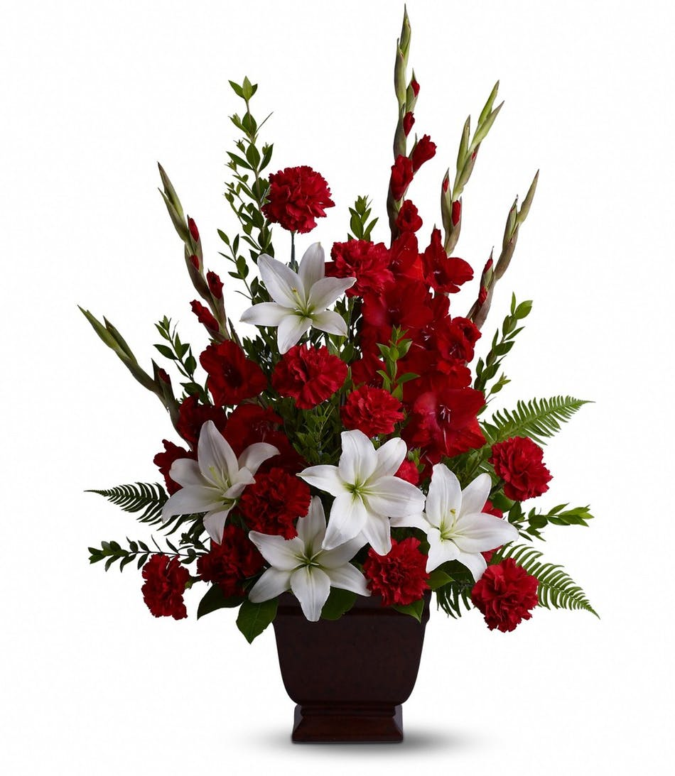 Red gladioli san diego asiatic white lilies san diego san diego red gladioli san diego asiatic white lilies san diego san diego florist designs stunning christmas table centerpieces mightylinksfo