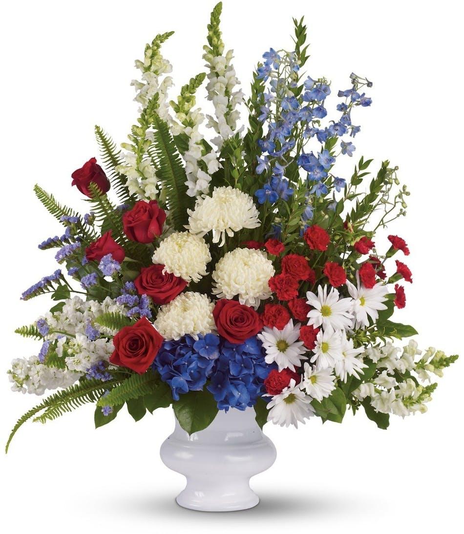 Patriotic Funeral Flowers Patriotic Funeral Flower Arrangements