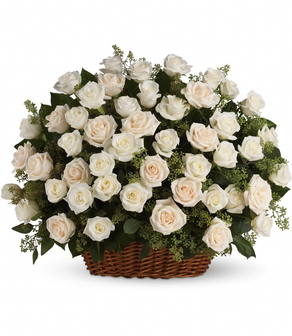 White Creme Roses Wicker Basket Eucalyptus Funeral Flower Arrangement