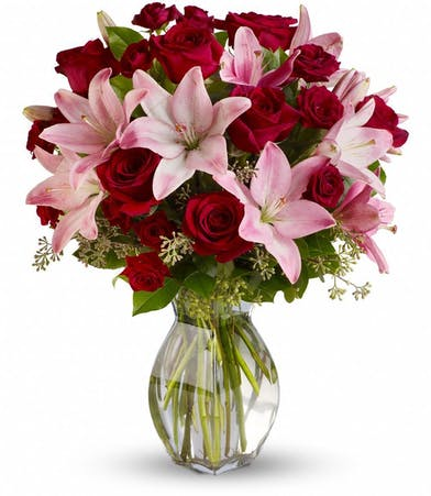 Pink Asiatic Liliies and Red Roses Floral Arrangements, Florist San Diego