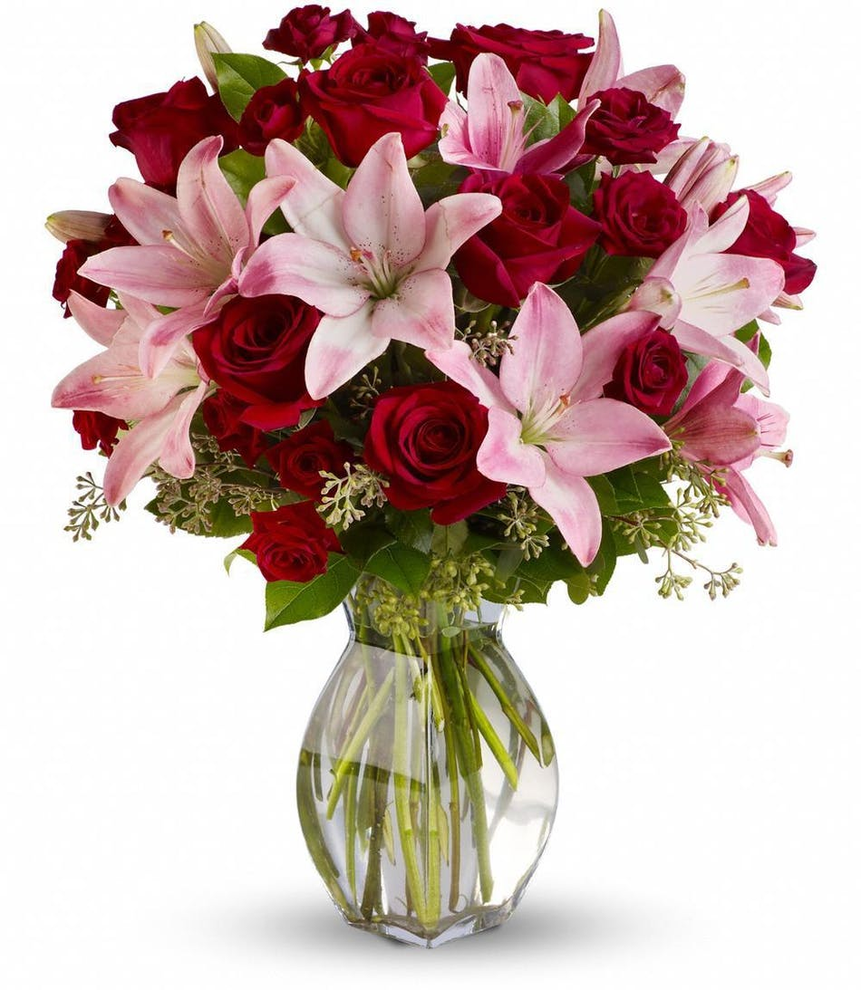 Lavish love roses lilies san diego florist allens flowers pink asiatic liliies and red roses floral arrangements florist san diego mightylinksfo