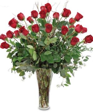 24 Premium Red Roses Arranged
