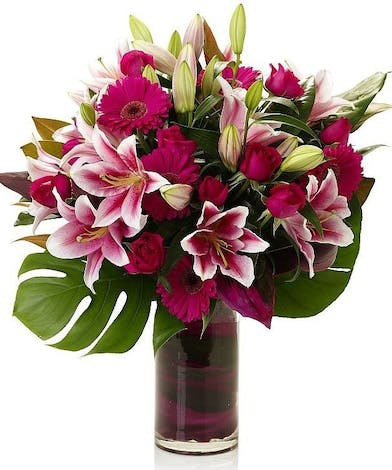 Pink Roses and Stargazers  Floral Arrangements, Florist San Diego