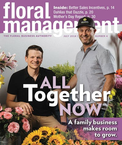 Members of the Allen's ownership team on the cover of Floral Management Magazine